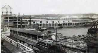 Aduana y muelles en construcción, 1912