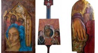 De izq a derecha: Flauta dulce cartón corrugado; Organistrum cubano; Violín rojo