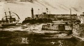 Entrada a la bahía de La Habana según una litografía de Miahle