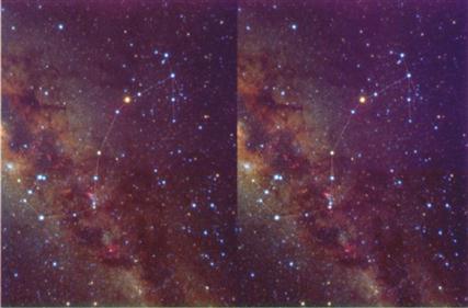 La constelación Escorpión  en fotos que permiten apreciar la tercera dimensión si se enfoca cada foto con un ojo.