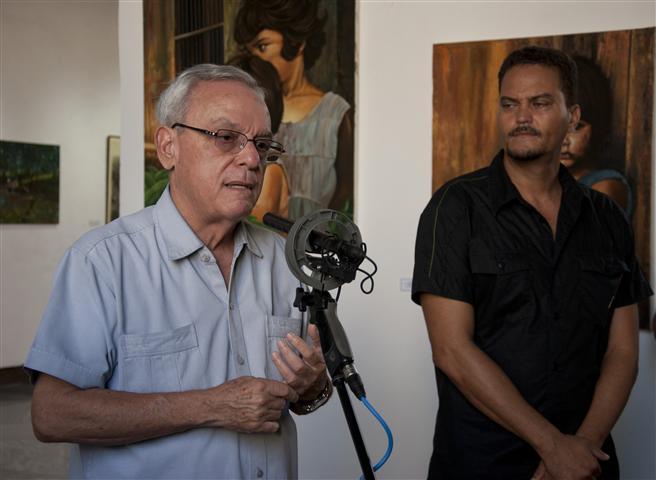 El Historiador de la Habana, Eusebio Leal Spengler junto al artista Carlos Manuel Castillo / Foto Alexis Rodríguez