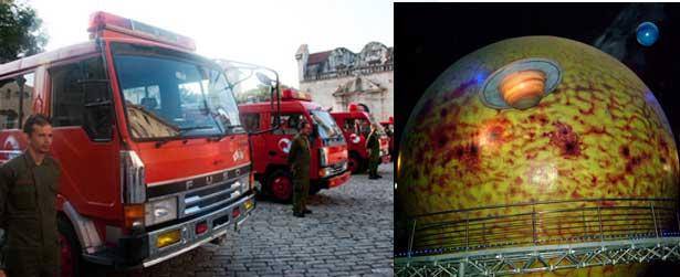 El país nipón ha realizado donaciones a Cuba y específicamente al Centro Histórico habanero tales como: El Planetario Astronómico, camiones recolectores de desechos, camiones de bomberos específicos para poder transitar por las estrechas calles de la Habana Vieja