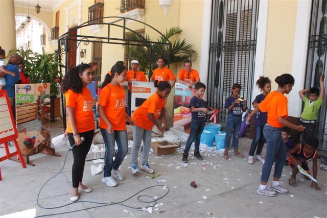 en los portales de la escuela primaria Ángela Landa, uno de los centros donde se implementa el proyecto