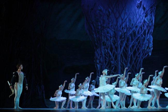 La escenografía de Ricardo Reymena,  resalta en  momentos como este  de El  Lago de los cisnes (Custom)