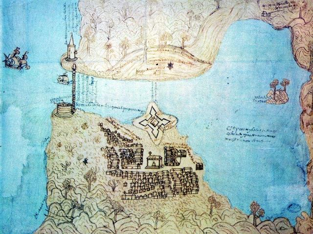 Detalle de La Fuerza y primeras casas, 1576 (Custom)