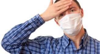 A man is in a non-permanent medical mask.