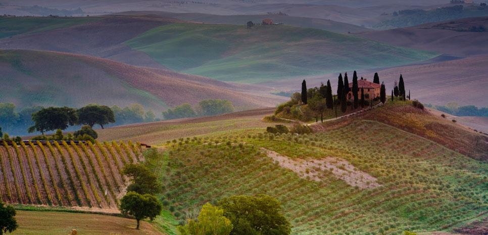 Un paisaje en la Toscana italiana