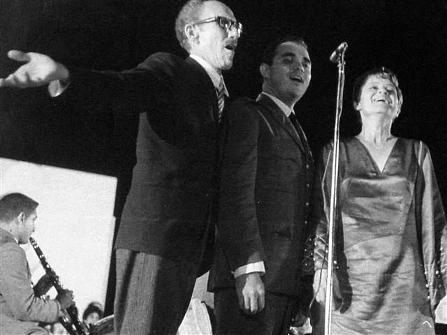 Con Germán Pinelli y Alicia Carbonero. Bayamo, 1971.