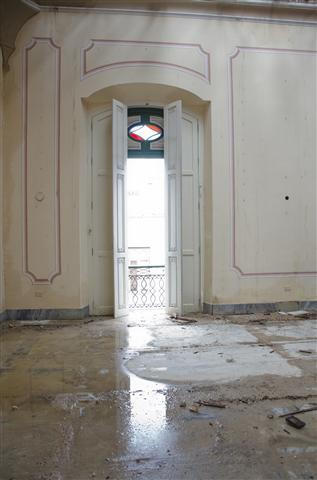 Imágenes del Palacio de los Capitanes Generales durante la lluvia del pasado miércoles 29 de abril