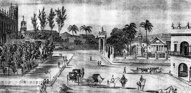 Grabado del S. XIX, se observa el Templete