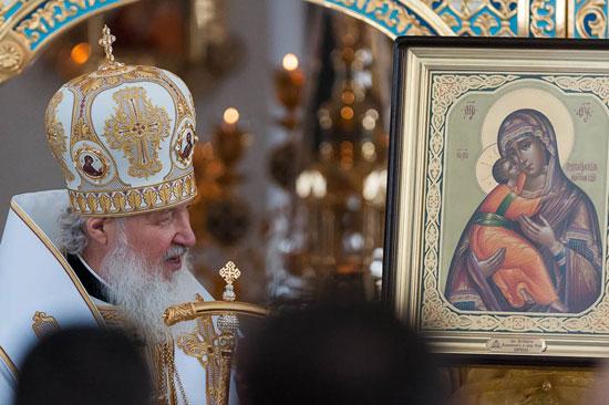 Su Santidad Kirill, Patriarca de Moscú y de toda Rusia, mientrasd oficia la Divina Liturgia en la Catedral Ortodoxa Rusa de Nuestra Señora de Kazán. / Foto: Calixto N. Llanes