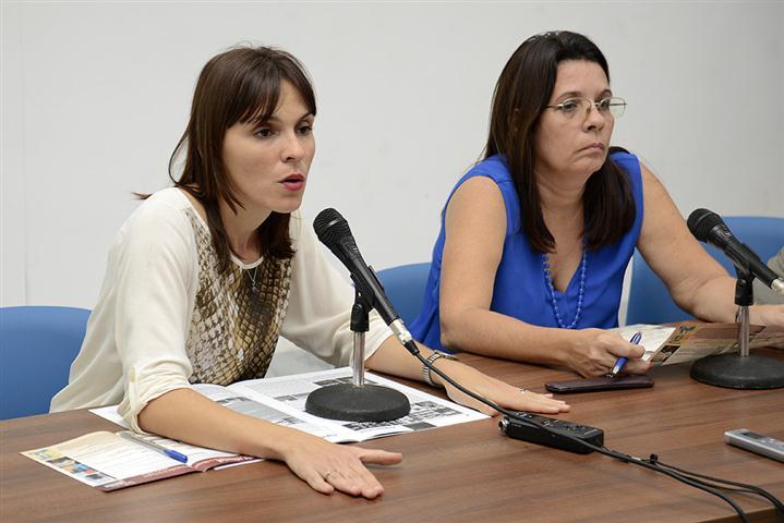 Mylena Suárez, directora de Boloña,  en conferencia de prensa celebrada en el antiguo Palacio del Segundo Cabo