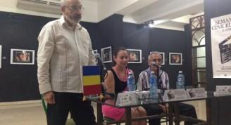 Conferencia de prensa en el Centro Cultural Cinematográfico Fresca y Chocolate, sobre la Tercera Semana de Cine Rumano en el cine 23 y 12 en el Vedado. La Habana, Cuba