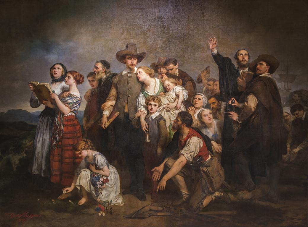 Desembarco de los Puritanos pasajeros del MayFlower en la Roca de Plymouth, 1867 (Medium)