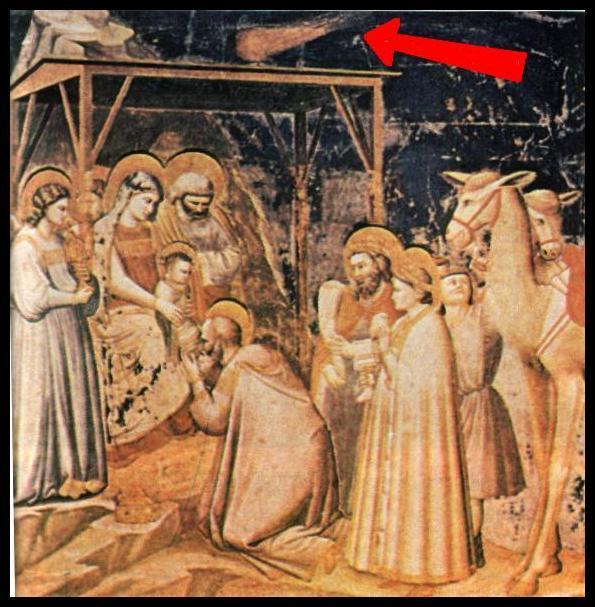 La Adoración de los Reyes Magos, cuadro del Giotto, obsérvese al Halley en la parte superior de la imagen