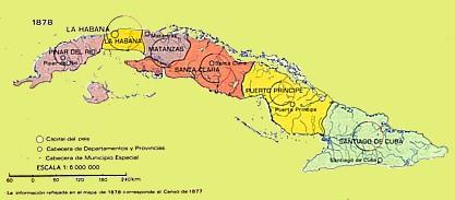 División político-administrativa de Cuba en 1878