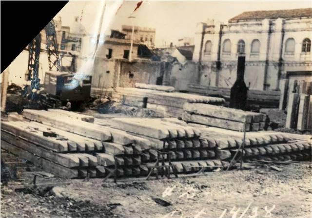 Imágenes de los terrenos en preparación para la fábrica del edificio, 1938