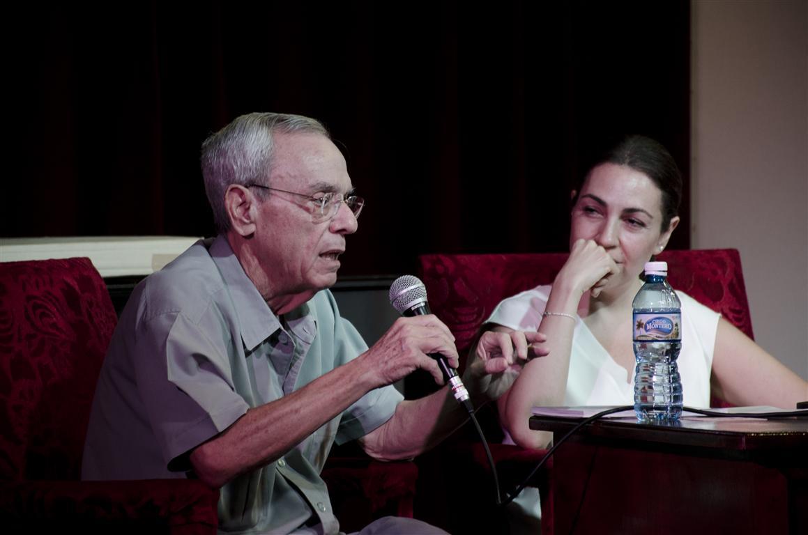 Eusebio Leal Spengler, a su lado la diseñadora mexicana Cristina