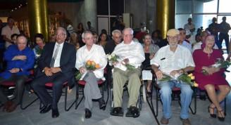 De izquierda a derecha: Roberto Fabelo, Eduardo Torres Cuevas, Eusebio Leal, Armando Hart Dávalos, Roberto Fernández Retamar y Alicia Alonso. Foto Yander Zamora/ Granma.