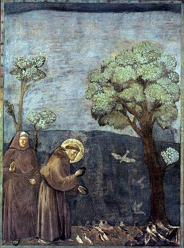 Francisco de Asís dando un sermón a los pájaros