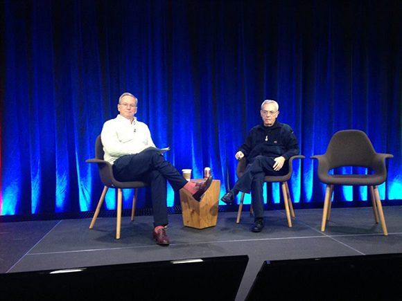 Eusebio Leal (a la derecha) con Eric Schmidt, presidente de Google, en el evento de Nueva York
