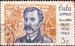 Emisión por el Día del Sello Cubano, de 1964, dedicada a homenajear el Correo insurrecto. Muestra a Vicente Mora Pera, primer director