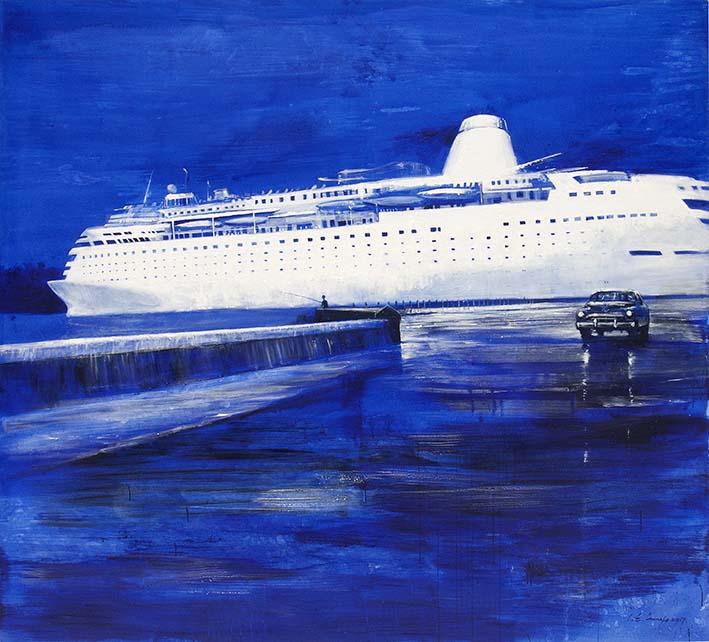 De la serie¨La Habana elegante¨ Crucero 1. Acrilico sobre Lienzo. 200 x 200 cm. 2017