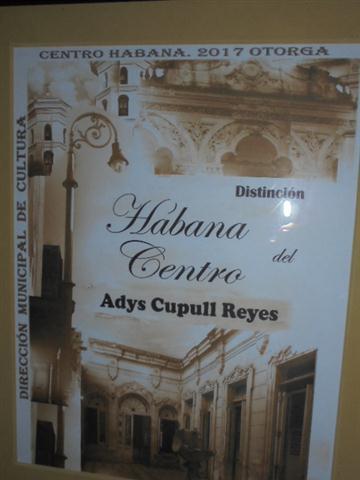Distinción Habana del Centro, otorgada por la Dirección Municipal de Cultura de ese municipio