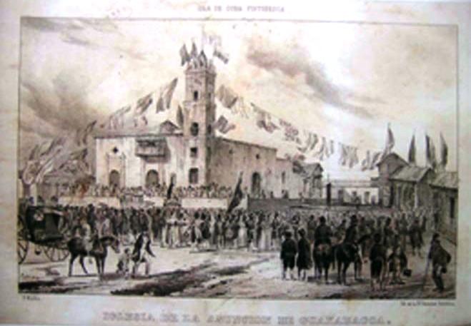 Procesión frente a la parroquia de Guanabacoa hacia 1848. Grabado de F. Mialhe