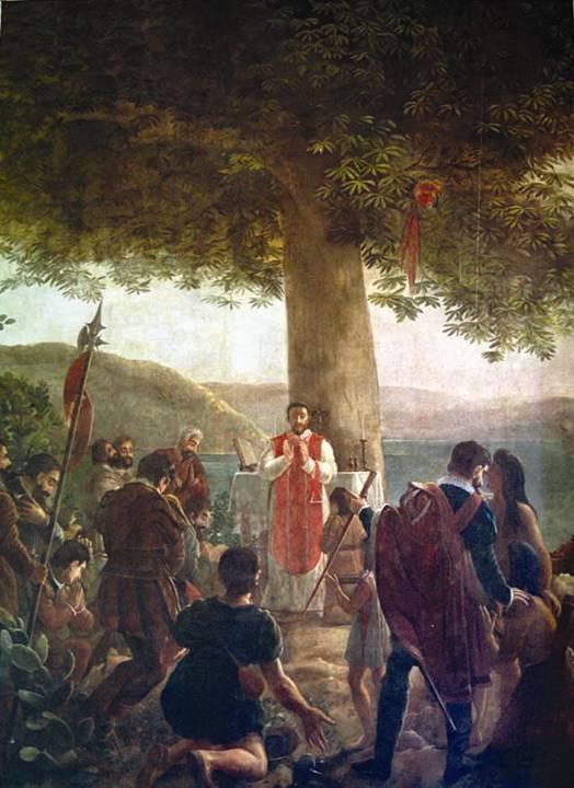1519 Fundación, pintura del artista francés Jean Baptiste Vermay