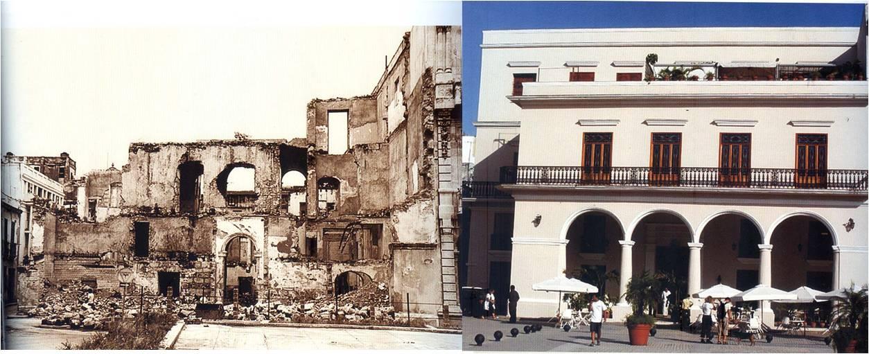 Edificio Santo Ángel antes y después de la restauración