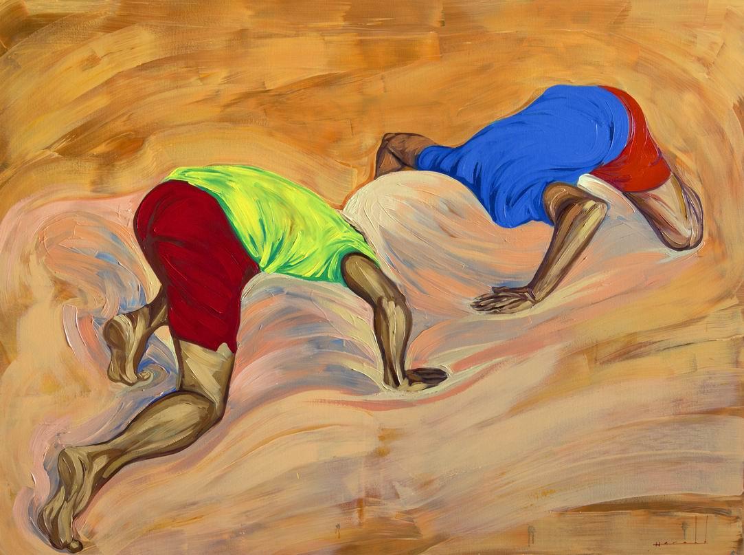 """""""Resistiendo"""". (Mixta sobre lienzo 150 x 200 cm)"""