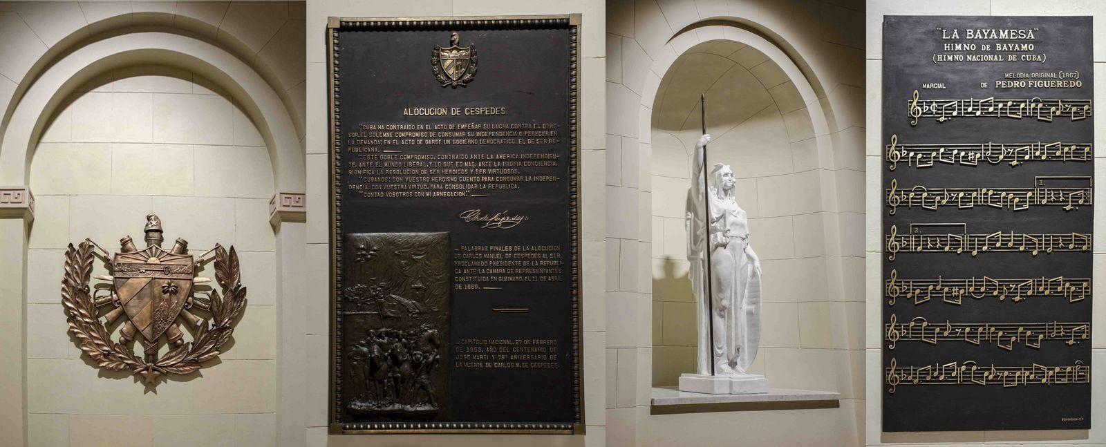 De izquierda a derecha, Escudo de Armas de Cuba, la alocución de Céspedes en Guñaimaro; réplica de la estatua de Pala Atenea y las notas del Himno de Bayamo. Alexis Rodríguez / Jorge Luis Beker.