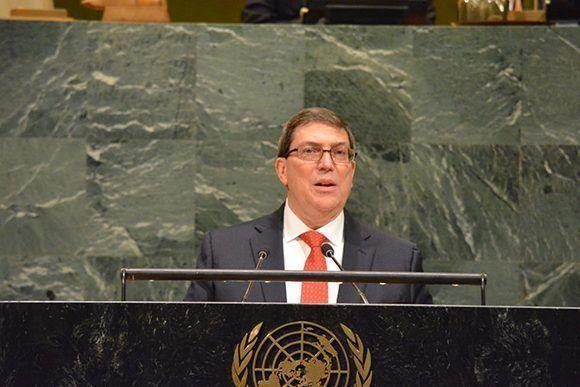 Durante su intervención en la ONU. Foto: @CubaMinrex/Twitter.