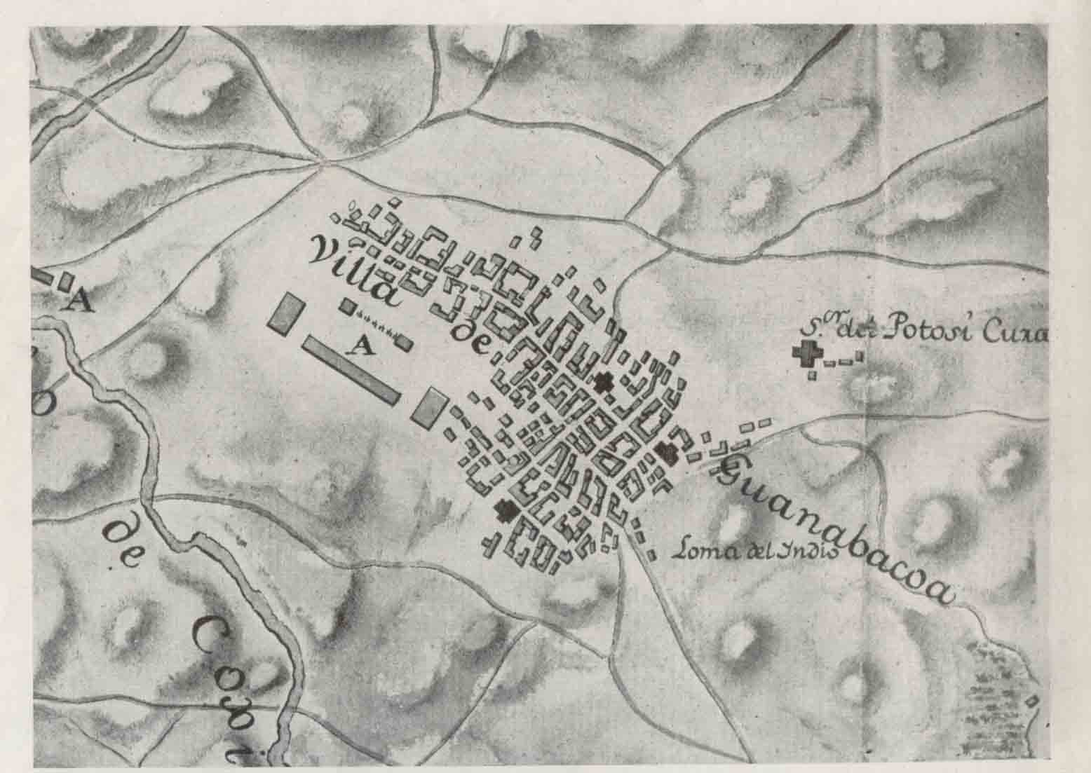 Plano de Guanabacoa en el siglo XVIII con sus cuatro iglesias.