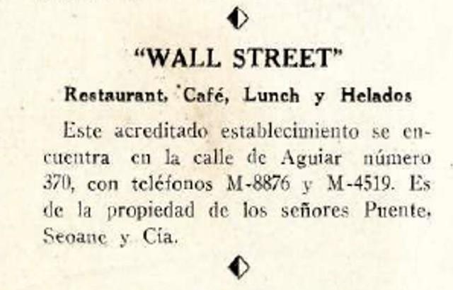 Anuncio del café Wall Street en 1944
