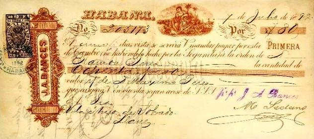 Letra de cambio de Bances y Cía., La Habana, 1892
