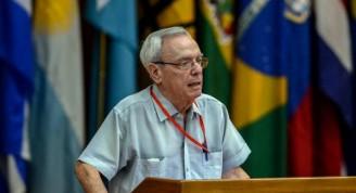El Dr. Eusebio Leal Spengler, historiador de La Habana, durante su intervención en la plenaria dedicada al pensamiento de Fidel, en el marco del  XXIV Encuentro del Foro de Sao Paulo, en el Palacio de Convenciones de La Habana, el 17 de julio de 2018.      ACN  FOTO/ Abel PADRÓN PADILLA/ rrcc