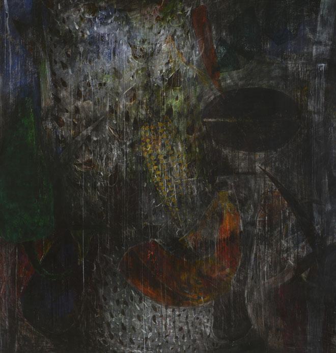 """Conjuros"", 2018, Acrílico sobre lienzo, 200 x 200 cm."