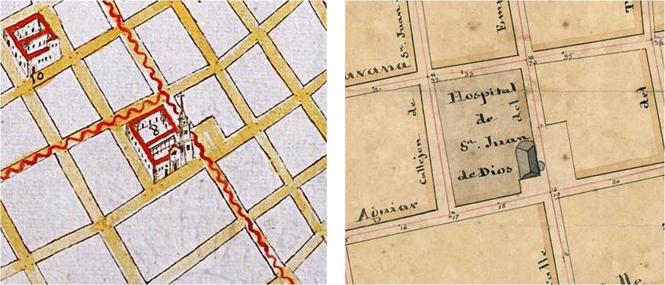 Planos de la ciudad de Juan Síscara, 1691 y de La Habana con sus parroquias, 1825, donde se observa la parcela retranqueada