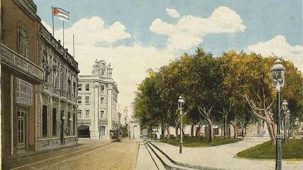 Calle Empedrado, edificio El Iris y la Plazuela de San Juan de Dios
