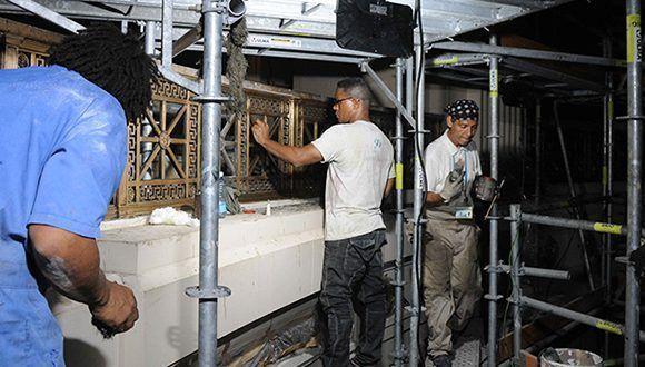Trabajos de restauración en el segundo nivel del Capitolio de La Habana, labor constructiva a cargo de la Oficina del Historiador de la Ciudad (OHC). Foto: Omara García Mederos/ACN.