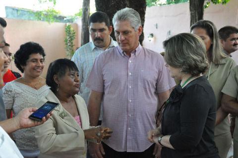 Miguel Díaz-Canel visita el museo Casa Natal de Céspedes, 28 de junio de 2018.