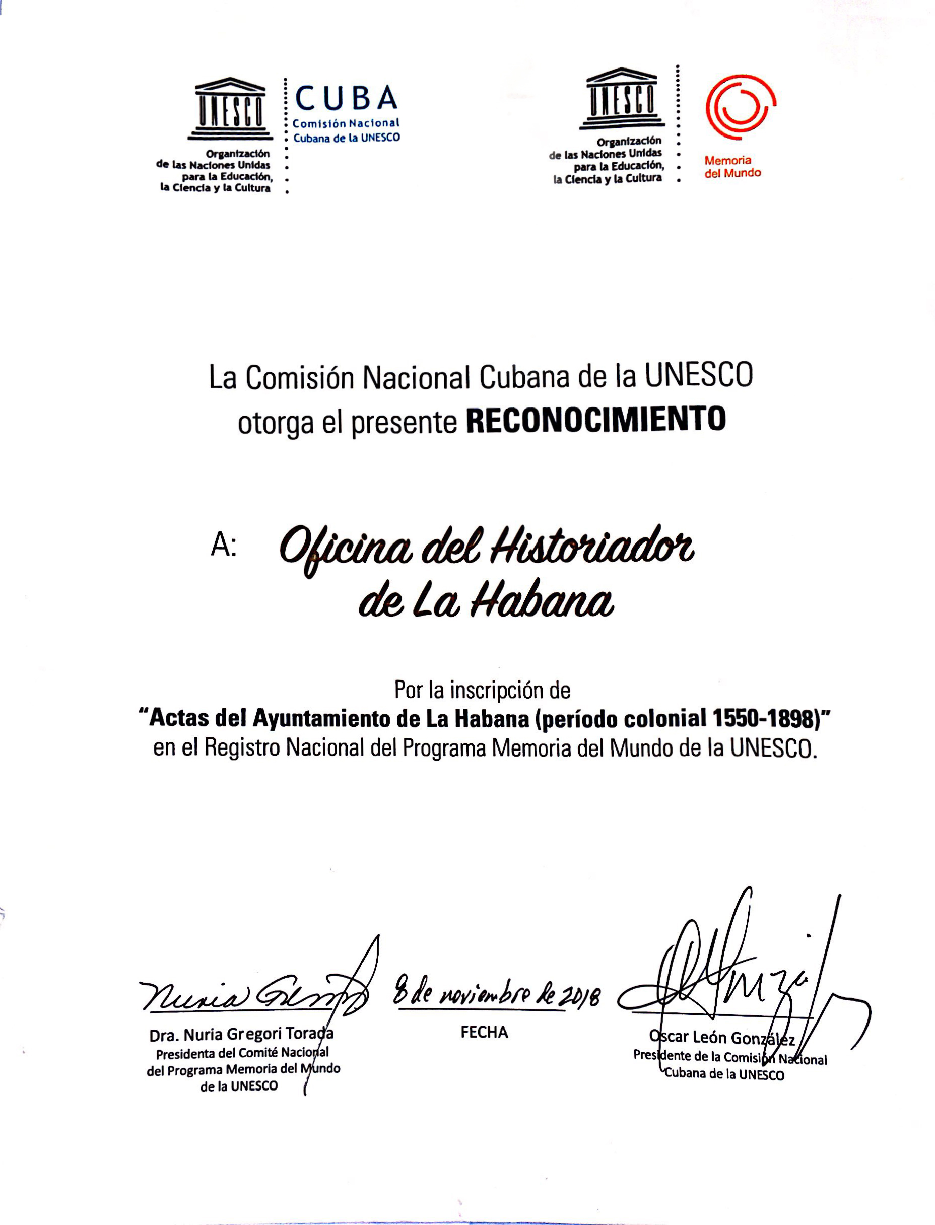 Copia del certificado Unesco