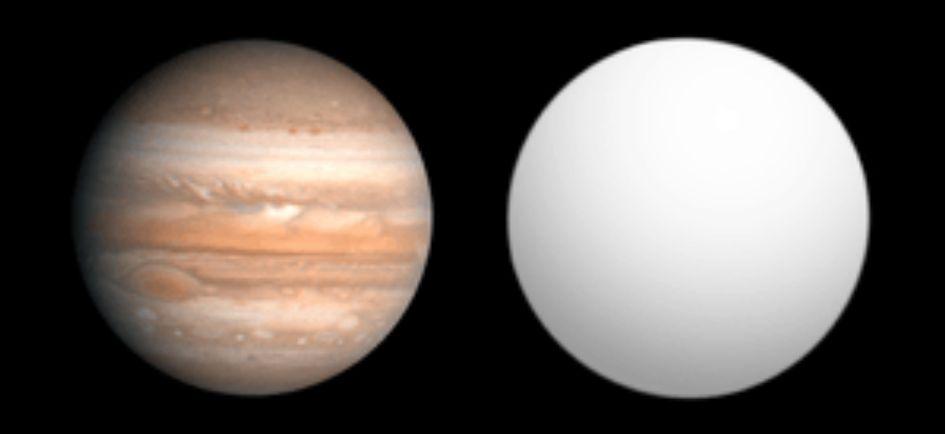 comparación COROT 3b con Jupiter