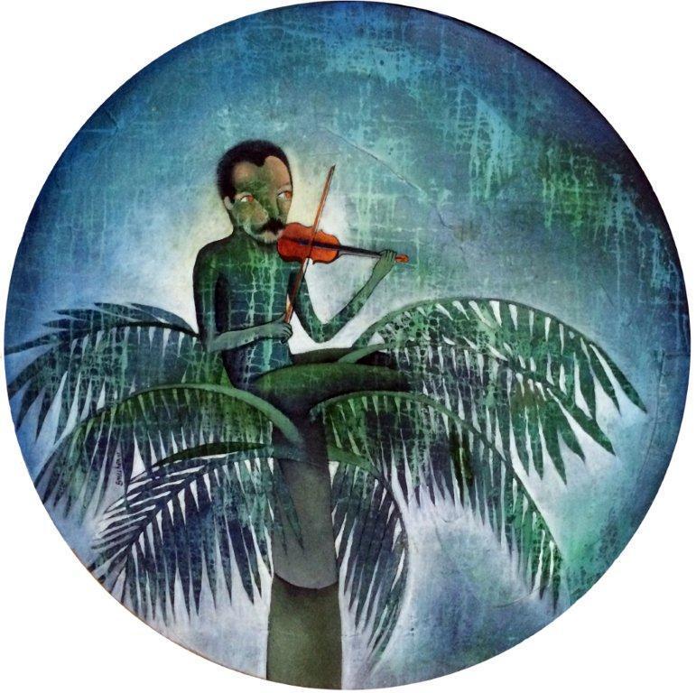 2005, Dos Patrias tengo yo, Cuba y la noche, acrílico-mazonite, 84.5 cm (Medium)