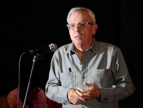 Eusebio Leal, historiador de La Habana, durante una conferencia ofrecida en el teatro Principal, como parte de las actividades por la Semana de la Cultura camagüeyana y el aniversario 505 de la Villa de Santa María del Puerto del Príncipe, en Camagüey, el 2 de febrero de 2019. ACN FOTO/ Rodolfo BLANCO CUÉ/ogm