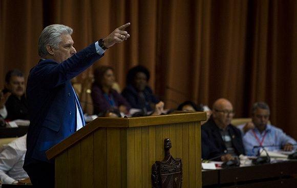 Intervención del presidente cubano Miguel Díaz-Canel. Foto: Irene Pérez/ Cubadebate.