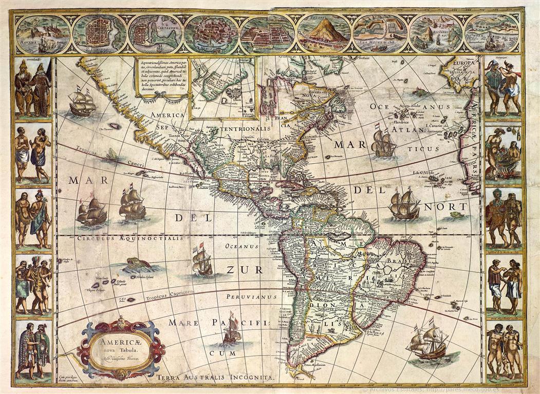Americae Nova Tabula, de la autoría de Willem Janszoon Blaeu (Holanda). Fondo Archivo General de Indias (Medium)