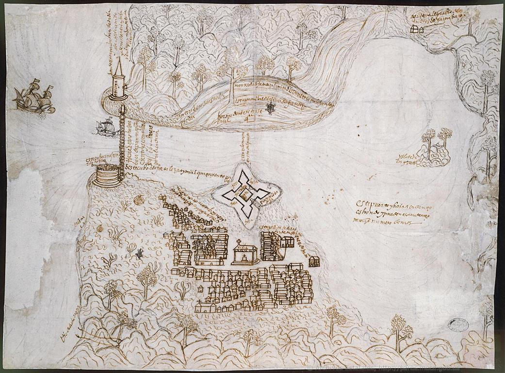 Plano de La Habana, en perspectiva, perteneciente al Archivo de Indias